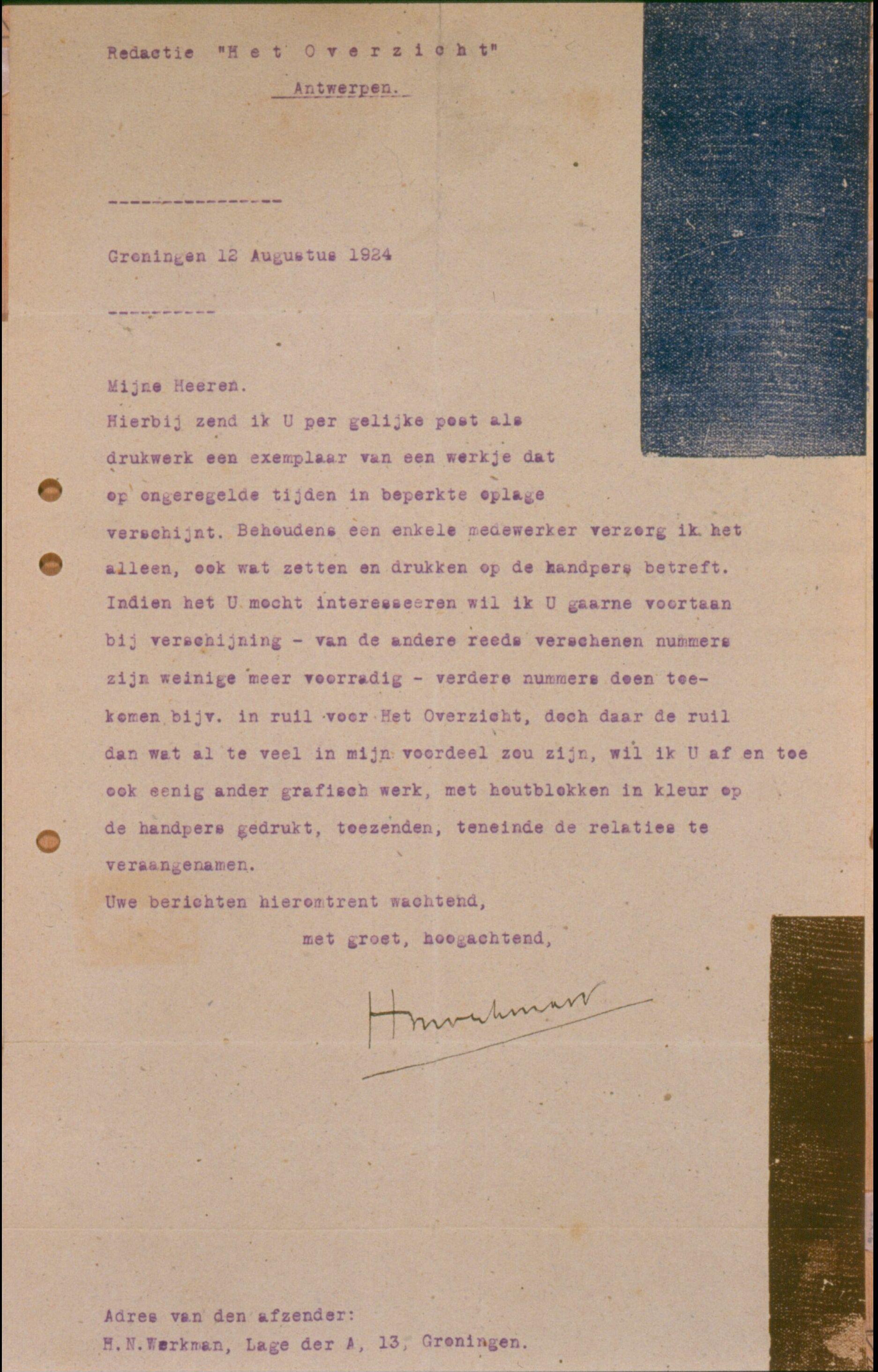 brief aan de redactie van tijdschrift Het Overzicht d.d. 12 augustus 1924 op briefpapier G-62 (erven Seuphor)