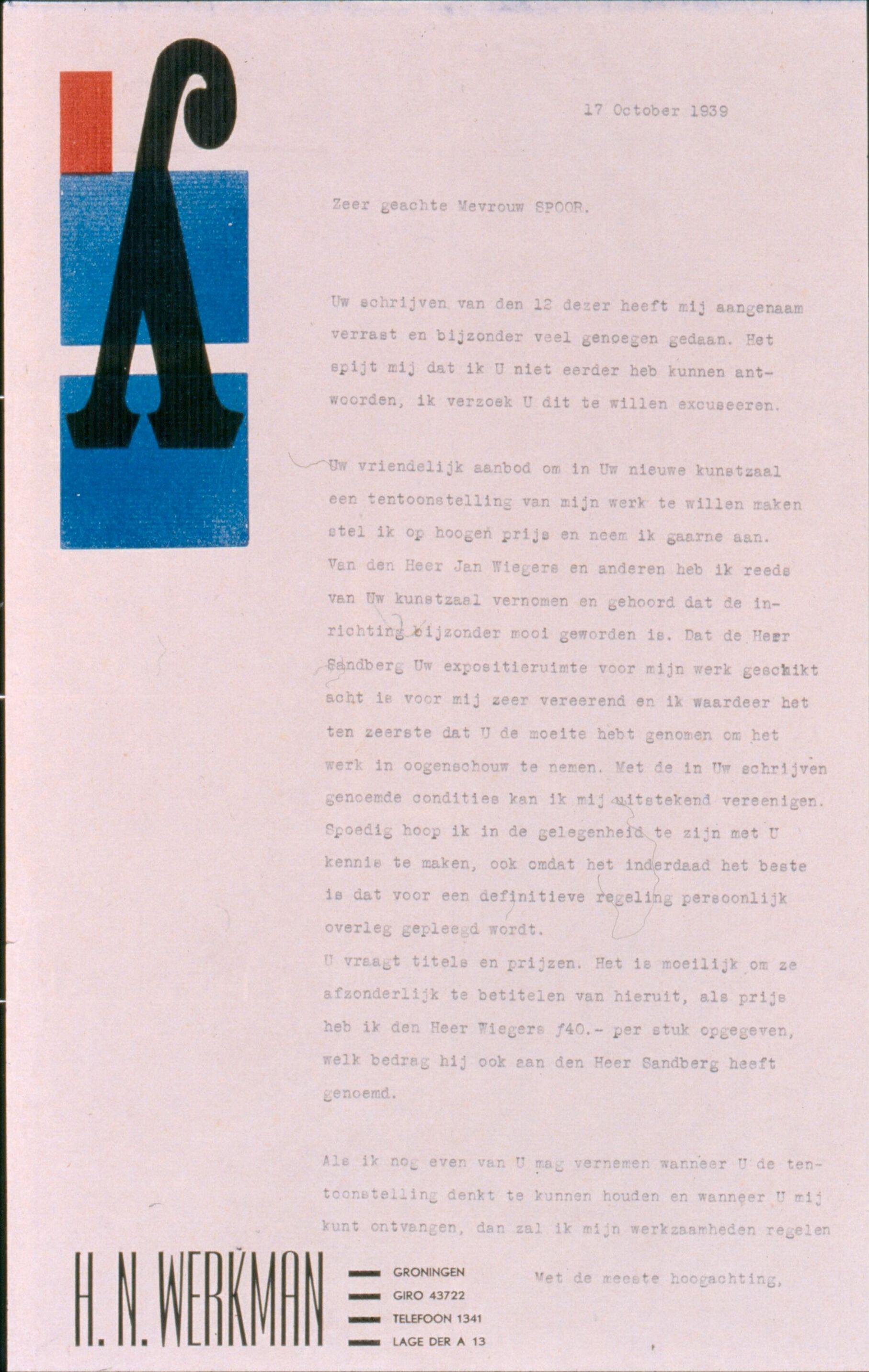 brief aan Helen Spoor d.d. 17 oktober 1939 op briefpapier G-109 (Stedelijk Museum Amsterdam)
